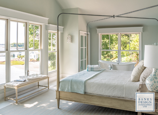 Paint color is Benjamin Moore CW-635 Nelson Blue. Green blue paint color Benjamin Moore CW-635 Nelson Blue. #Paintcolor #BenjaminMooreCW635NelsonBlue #BenjaminMoorepaintcolors #BenjaminMooreblue #BenjaminMooregreen #paintcolors Banks Design Associates, LTD & Simply Home