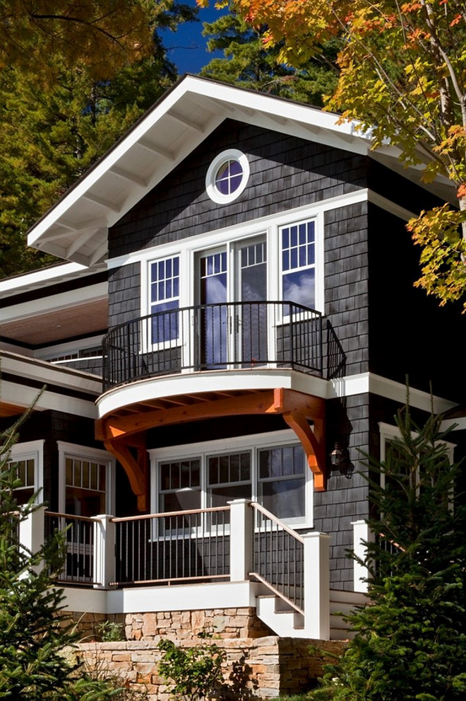 Black Exterior. The main house stain is Cabot Black. The stain on the timber accents is Sikkens Natural #Blackexterior Teakwood Builders, Inc.