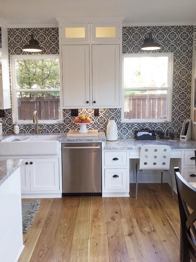 Black And White Cement Tile Backsplash Farmhouse Kitchen With