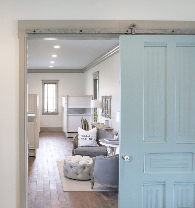 Blue Barn Door Paint Color. Sherwin Williams SW6479 Drizzle. Vintage blue barn door Sherwin Williams SW6479 Drizzle. Sherwin Williams SW6479 Drizzle #SherwinWilliamsSW6479Drizzle #barndoor #bluebarndoor blue-barn-door Home Bunch's Beautiful Homes of Instagram @artfulhomestead