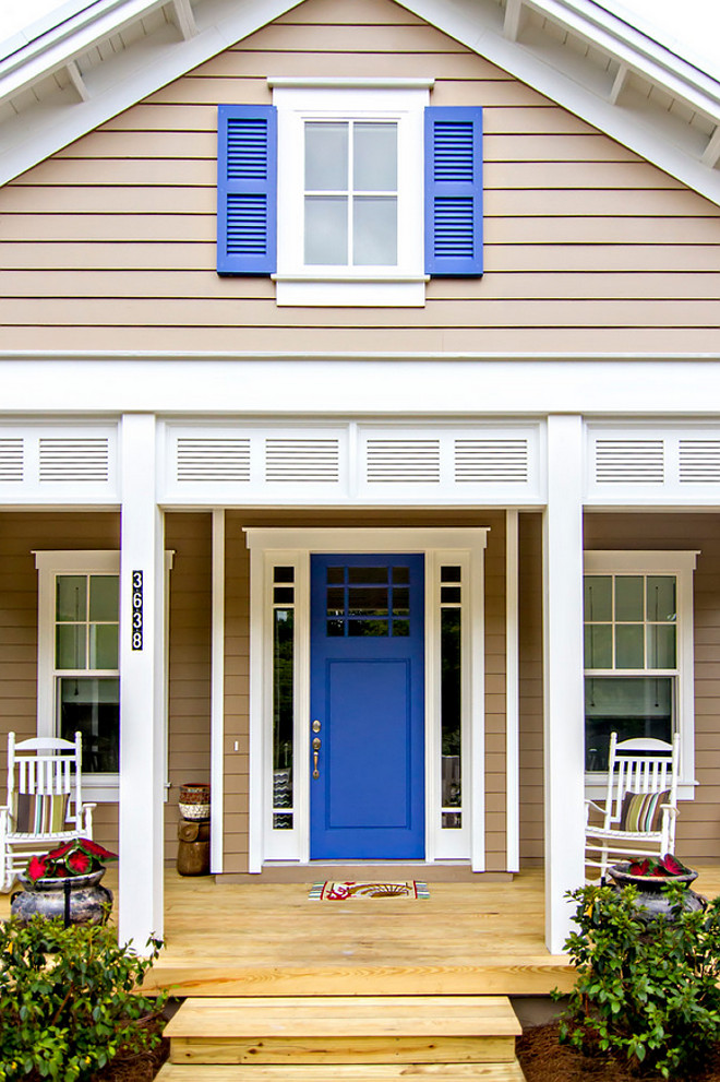 Blue Door Paint Color. Blue Door and Blue Shutters Paint Color. The Blue Door and Blue Shutters Paint Color is Sherwin Williams Lupine SW 6810. The siding paint color is Sherwin Williams Sanderling SW 7513. #BlueDoorPaintColor Glenn Layton Homes