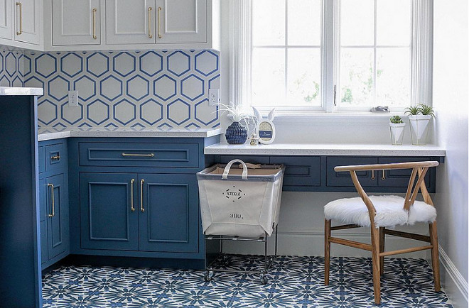 Blue and white cement tile. Blue and White Cement tile is by Cement Tile Shop. Laundry room with Blue and White Cement floor tile. #BlueandWhiteCementtile #BlueandWhiteCementfloortile #Cementfloortile Millhaven Homes. Four Chairs Design.