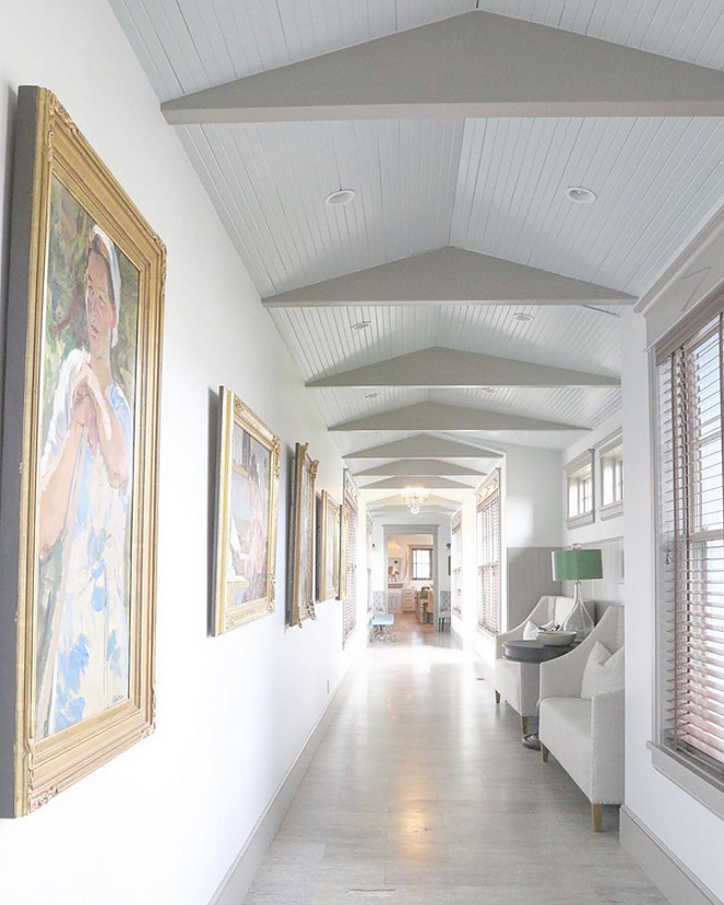Breezeway. When we added the addition we needed to connect the two houses together. A gallery of paintings showcasing women and their lives line the long wall from one end to the other. Home Bunch's Beautiful Homes of Instagram @artfulhomesteadbreezeway