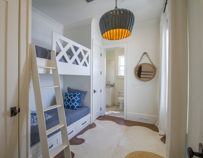 Bunk room. Bunk room with bathroom layout. The bunk room lighting is Arteriors Home, Granville Pendant. Bunk room Bathroom Ideas. #Bunkroom #bathroom bunk-room Geoff Chick & Associates