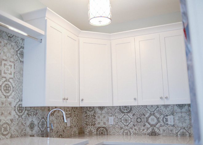Cement tile backsplash. Laundry room cement tile backsplash. Backsplash tile is Marakesh 8x8, Gray, Matte. #cementtile Millhaven Homes