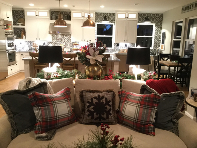 Christmas Decor Family room ideas. Christmas Decor Family room ideas. Open floor plan Christmas decor. Christmas pillow covers are from Pottery Barn. #ChristmasDecor #Familyroom Jordan from @i_heart_home_design via Instagram