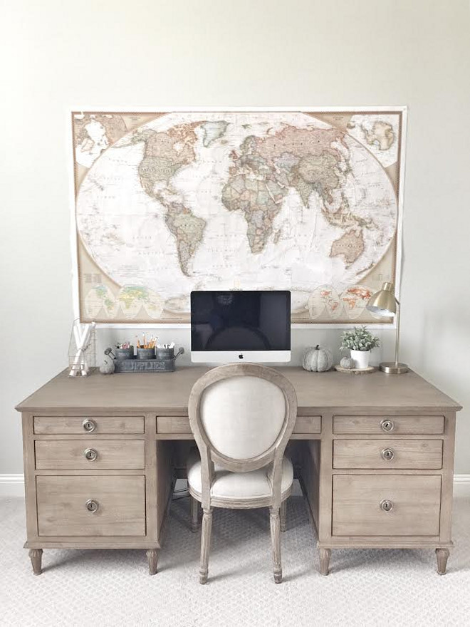 Desk is Restoration Hardware Maison Desk in Antiqued Coffee. Beautiful Homes of Instagram ceshome6