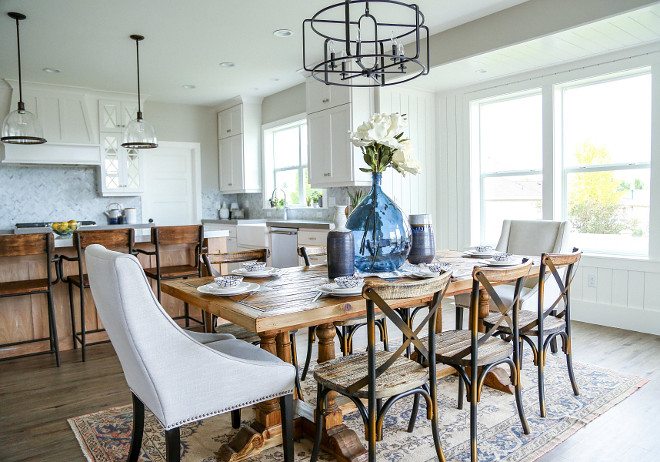 Farmhouse dining room lighting. Farmhouse dining room lighting is Savoy House Santina 5 Light Chandelier. #farmhouse #lighting #farmhouselighting #diningroom #farmhousediningroom Millhaven Homes