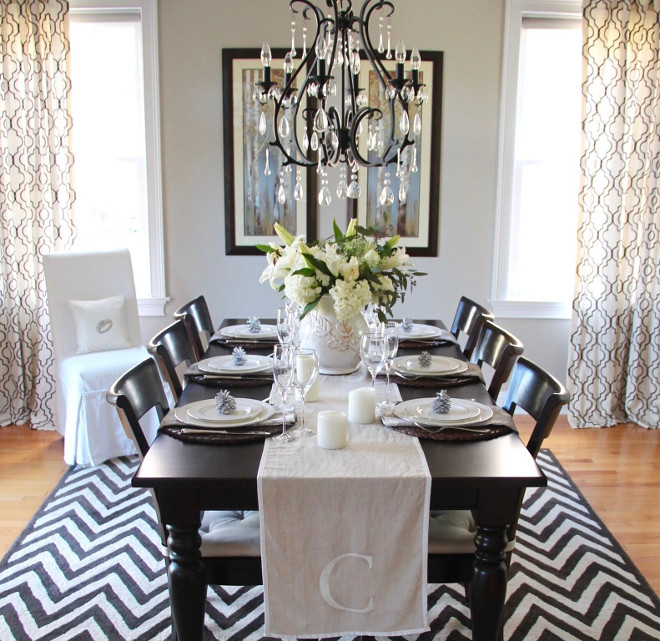 Benjamin Moore Revere Pewter. Benjamin Moore Revere Pewter. Black and white dining room with walls painted in Benjamin Moore Revere Pewter. Benjamin Moore Revere Pewter #BenjaminMooreReverePewter #BenjaminMoore #ReverePewter Home Bunch's Beautiful Homes of Instagram peonypartydesigns