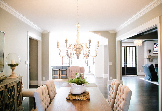 Dining room layout. This dining room feels connected to the kitchen and family room. #diningroomlayout dining-room Outrageous Interiors