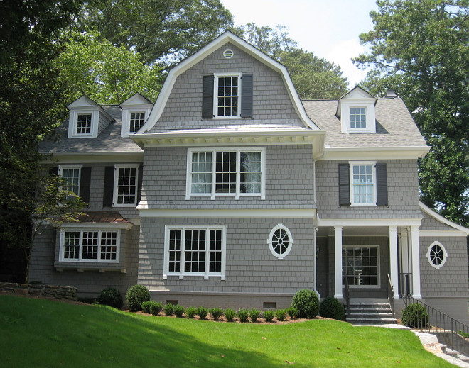 "Gray Shingle Home Paint Color: ""Dorian Gray SW7017 Sherwin Williams"" Trim Paint Color: ""Benjamin Moore Snowfall White OC 118"". Shutters Paint Color: ""Sherwin Williams Black Fox 7020"". Hask Custom Homes dorian-gray-sw7017-sherwin-williams"