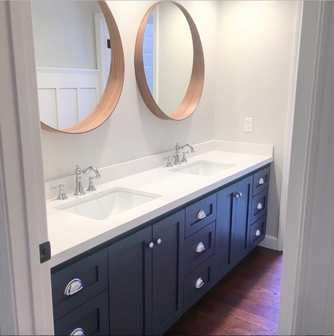 Bathroom wall and cabinet paint color. Evening Dove Ben Moore (cabinet) Repose Gray Sherwin Williams (walls) #EveningDoveBenMoore #ReposeGraySherwinWilliams #bathroom #wall #cabinet #paintcolor evening-dove-ben-moore-cabinet-repose-gray-sherwin-williams-walls Eye for the Pretty