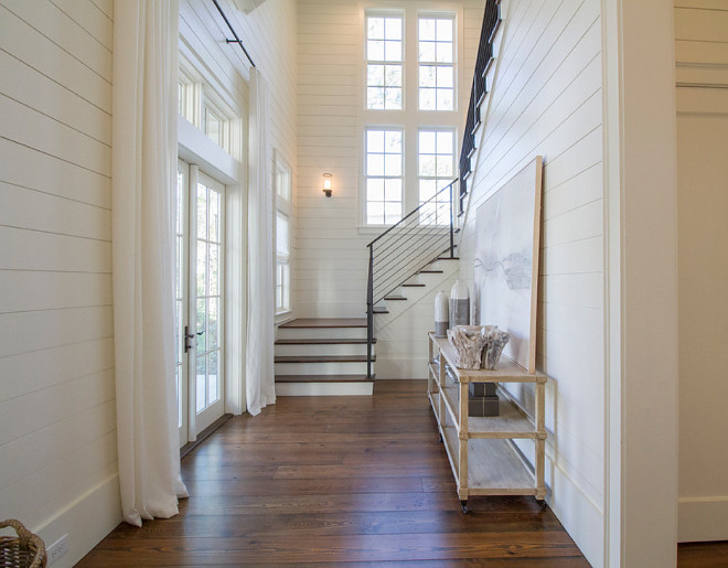 "Tongue and Groove Paneling. Paneling is an 8"" tongue and groove with square grooves. Foyer Tongue and groove Paneling painted in a off white paint color. Tongue and groove Paneling. Foyer tongue and groove Paneling #FoyertongueandgroovePaneling #Foyer #tongueandgroove #Paneling #Foyertongueandgroove #Shiplaptongueandgroove #Paneling foyer-shiplap-paneling Geoff Chick & Associates"