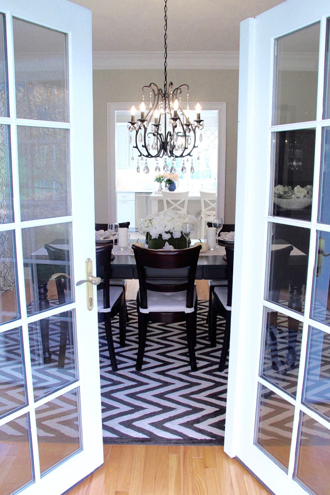 Dining Room French Doors. The dining room has a set of French doors leading to a small covered stone porch and a birch tree just off the porch. Dining Room French Door Ideas. Dining Room French Doors. Dining Room French Doors #DiningRoomFrenchDoors #DiningRoom #FrenchDoors