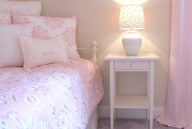 Pink Bedding. Cute girl's bedroom with pink bedding. Pink bedding is from HomeGoods. Nightstand is from Ikea. #PinkBedding #Girlsbedroom Home Bunch's Beautiful Homes of Instagram peonypartydesigns