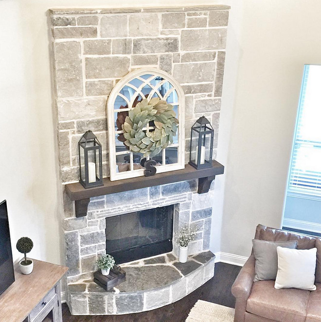 Grey fireplace stone. Fireplace stone is Smoked Leuders Chopped Stone with cream mortar. #greyfireplace #greystone #greyfireplacestone Beautiful Homes of Instagram ceshome6
