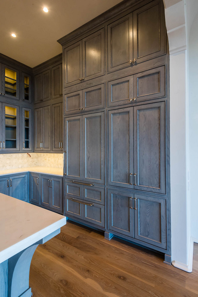 Gray stained cabinets in kitchen for Staining kitchen cabinets