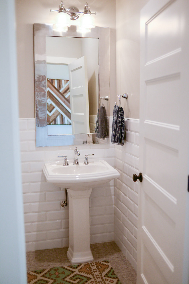 "Half wall tile wainscotting. Bathroom features half wall tile wainscotting. Half Wall Tile Wainscot: Bevel, Cotton Glossy, 4""x12"". Bathroom features half wall tile wainscotting. #halfwalltile #wainscotting #halfwalltilewainscotting Millhaven Homes"