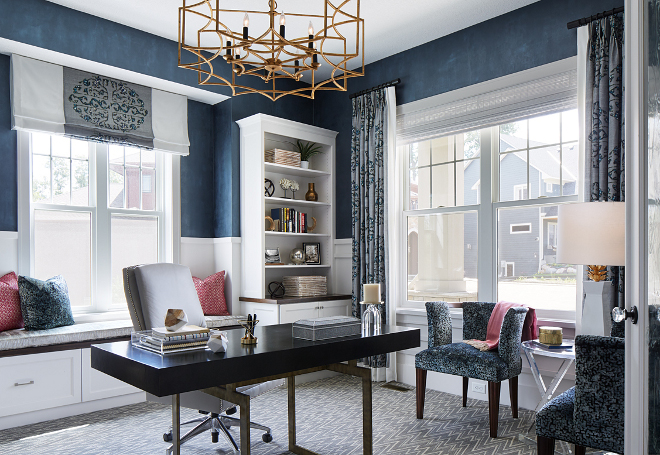 Navy Home Office. A navy custom faux finish on walls bring a luxurious feel to this home office. #Navywalls #homeoffice #office Vivid Interior Design