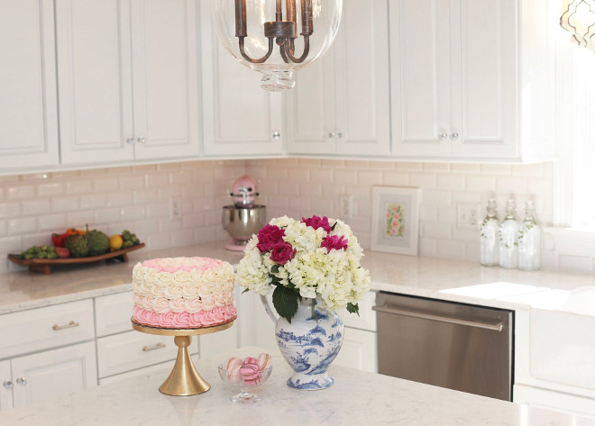 Kitchen countertop decor. Flowers: Whole Foods Market Cake & Macaroons: Taste by Spellbound. #kitchen #countertop #decor Home Bunch's Beautiful Homes of Instagram peonypartydesigns