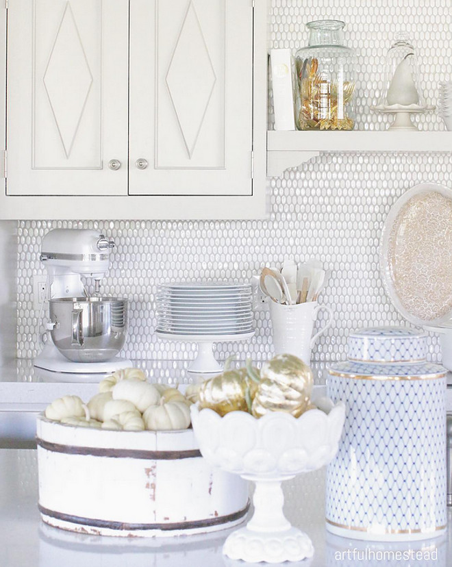 Kitchen Backsplash. Backsplash is Emser Tile Confetti Oval White. #kitchen #backsplash kitchen-backsplash Home Bunch's Beautiful Homes of Instagram @artfulhomestead