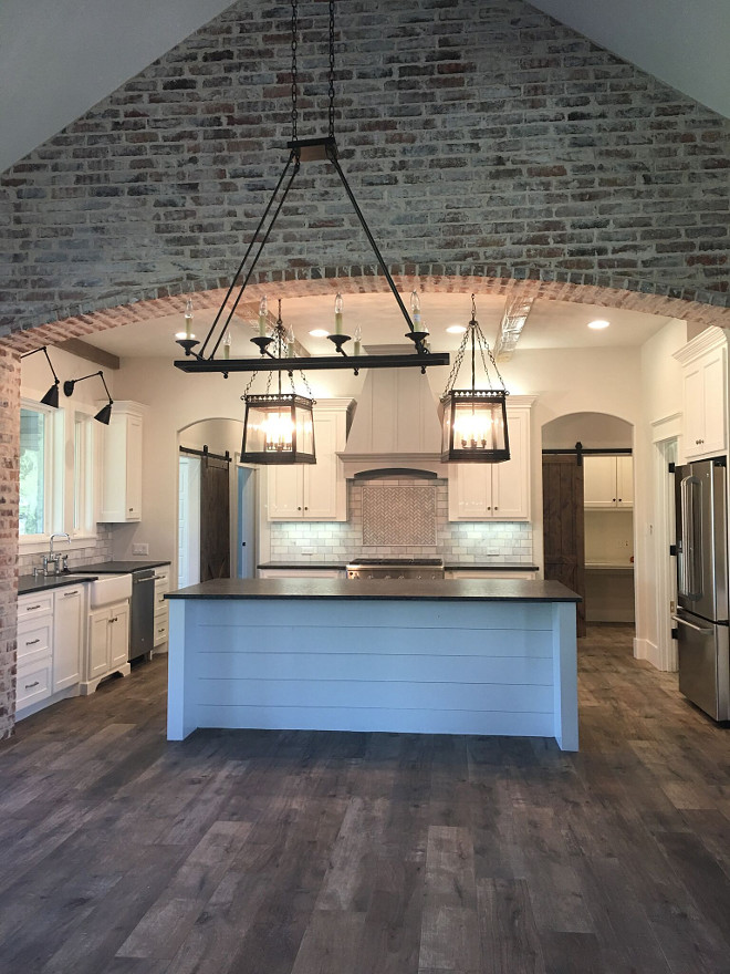 Kitchen Brick Ideas. The brick is Cromwell with white wash buff grout. Kitchen brick accent. Kitchen Brick #Kitchenbrick #Kitchen #brick Instagram Newly Built Home Ideas Instagram @smithteam6