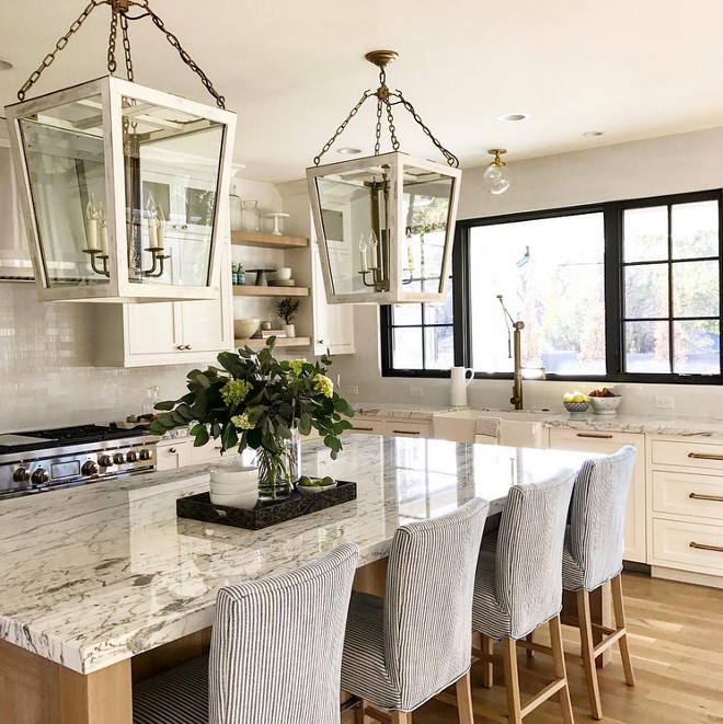 Kitchen lighting. The Julian Chichester Triangle Lantern in Oceanspray looks spectacular in this kitchen. #kitchenlighting #JulianChichester #TriangleLantern #Oceanspray#kitchen kitchen-lighting Caitlin Creer Interiors & @mariannebrown12. Northstar Builders, Inc.