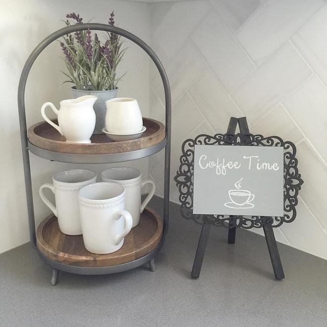 Kitchen countertop decor. Surrounding countertop is Grey Expo Silestone Quartz 4 cm square edge. Beautiful Homes of Instagram ceshome6