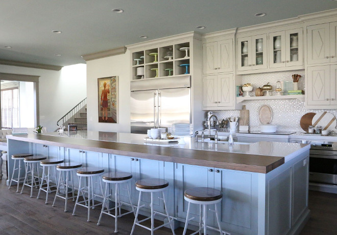 Kicthen paint color. Cabinets are custom by Creative Woodworks in a custom color similar to Benjamin Moore Revere Pewter. Benjamin Moore Revere Pewter #BenjaminMooreReverePewter Home Bunch's Beautiful Homes of Instagram @artfulhomestead