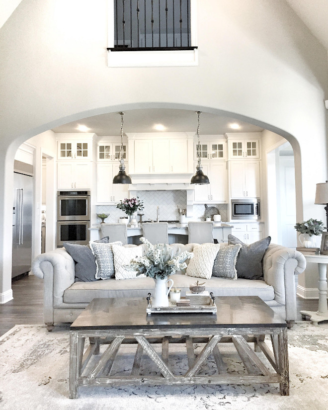 Living room to kitchen layout. Living room to kitchen layout ideas. Living room to kitchen layout. Living room to kitchen layout #Livingroomkitchenlayout living-room @mytexashouse from Instagram via Home Bunch