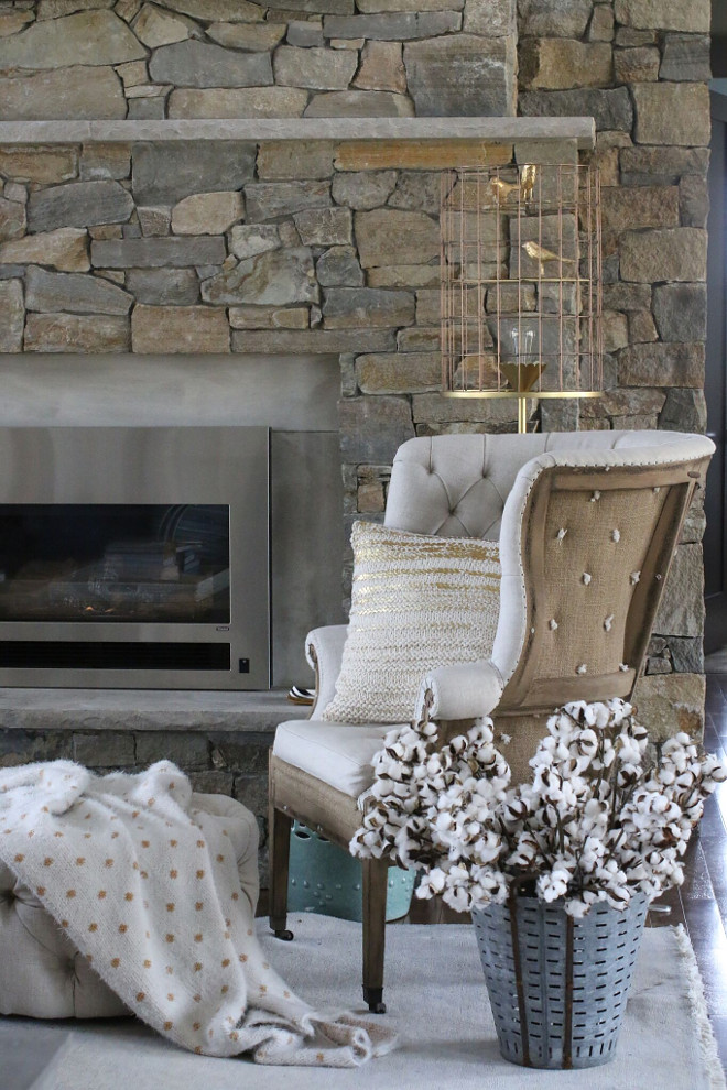 Rustic Linen Chair. Rustic Linen Chair. Rustic Linen Chair. Fireplace living room chairs. Rustic Linen Chair is from Restoration Hardware. #RusticLinenChair #LinenChair living-room-fireplace-chair Home Bunch's Beautiful Homes of Instagram - @artfulhomestead