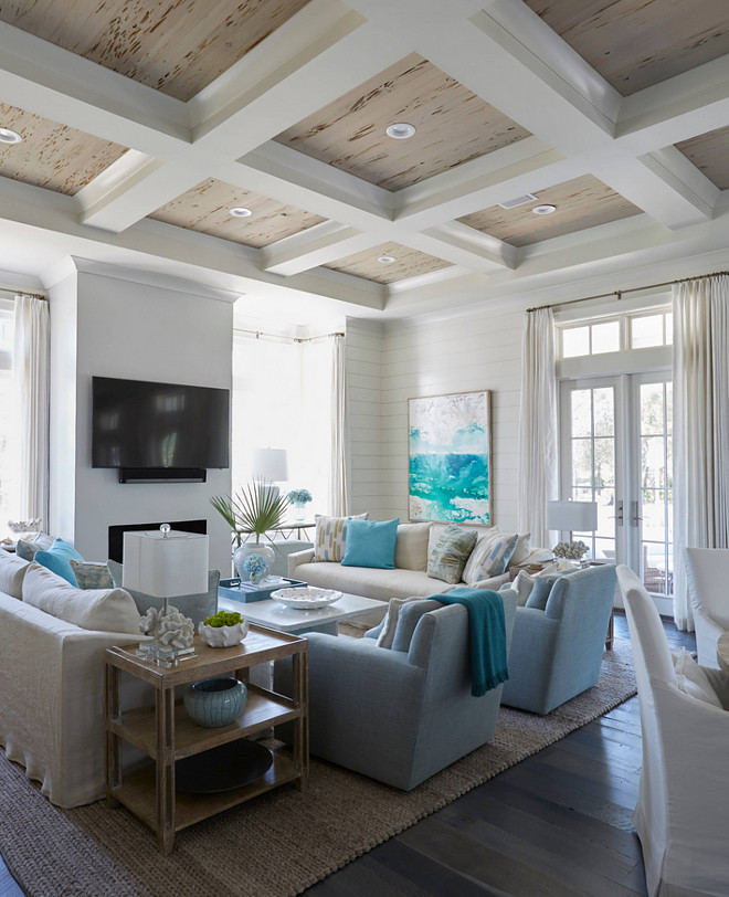 Living room with rustic coffered ceiling wood. The coffers are hollow 2x4 boxes wrapped in sheetrock, with a big crown over the pickled pecky cypress. #cofferedceiling #rusticwoodceiling #coffered #ceiling living-room-rustic-coffered-ceiling-with-pecky-cypress-wood Geoff Chick & Associates