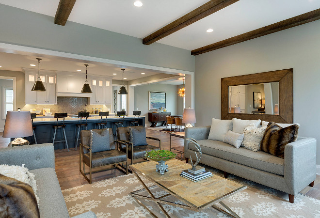 Main Area Open Floor Plan. Main Area Open Floor Plan. Main Area Open Floor Plan ideas. Family room opens to kitchen and kitchen nook. The rooms feel connected but aesthetically divided. #MainArea #OpenFloorPlan main-area-open-floor-plan-ideas Homes by Tradition