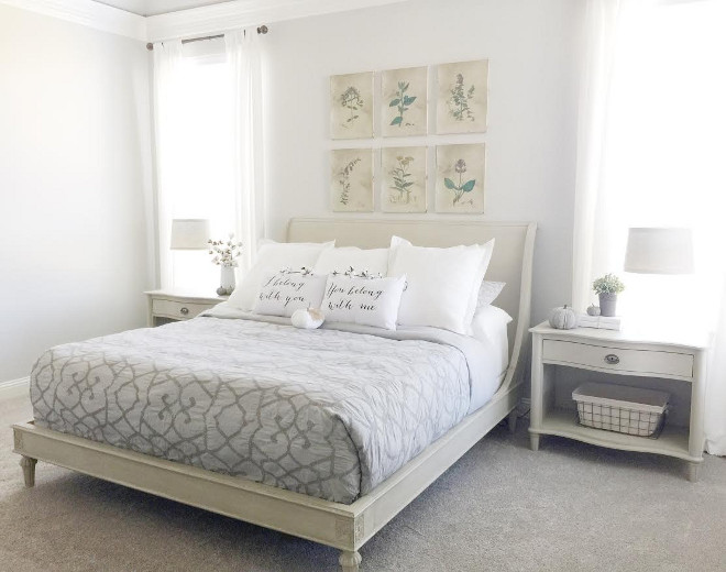 I love how large, open, and bright our bedroom is. It has a very calming feel. I got lucky with the bed and 2 side tables because I found them at a Restoration Hardware warehouse sale in perfect condition for a steal! The downside was that they were being discontinued so there wasn't a matching dresser. We decided to go with a darker gray dresser from Restoration Hardware in a similar line as the bed and purchase a grey comforter to tie each side of the room together. Beautiful Homes of Instagram ceshome6