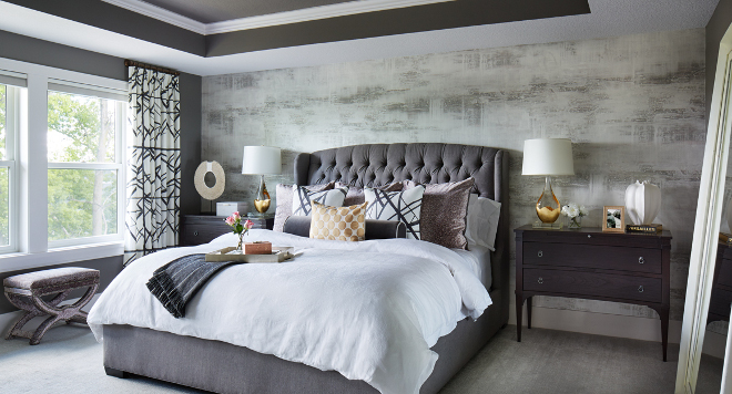 Sherwin Williams SW7019 Gauntlet Gray. Mysterious and inviting, this grey bedroom is surely to impress. Wall and ceiling paint color is Sherwin Williams SW7019 Gauntlet Gray. Sherwin Williams SW7019 Gauntlet Gray #SherwinWilliamsSW7019GauntletGray #SherwinWilliamsSW7019 #SherwinWilliamsGauntletGray #grey #paintcolor #bedroom Vivid Interior Design