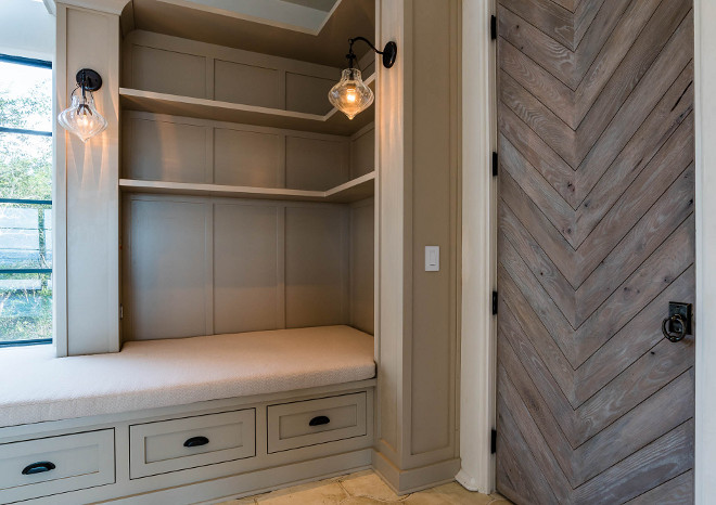 Mudroom Herringbone Door. Mudroom features custom inlaid, antique oak plank door. Mudroom features window seat cabinet, steel windows and herringbone wood door. Mudroom Herringbone Door. Mudroom Herringbone Door #Mudroom #HerringboneDoor mudroom-herringbone-door 1155 Bannerman