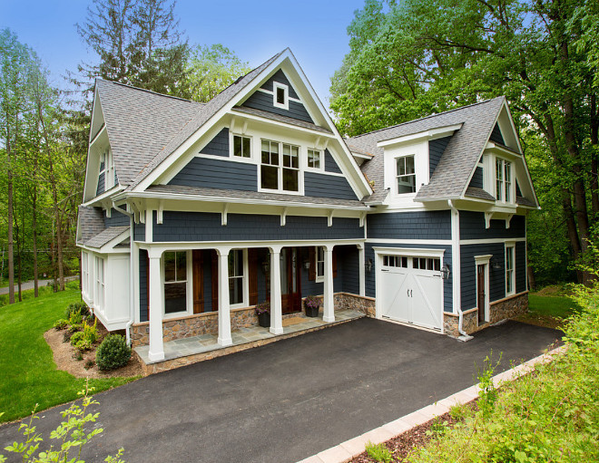 Navy Home Exterior. Navy Home Exterior with white trim, white porch columns and navy shingle. Navy Home Exterior paint colors. #NavyHomeExterior #NavyHomeExteriorpaintcolors #NavyHomeExterior #whitetrim #navyhomewhitetrim #navyhomepaintcolor James McDonald Associate Architects, PC. Hadley Photography