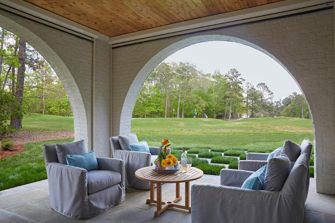 Brick Patio Archway. Brick Patio Archway Design. Brick Patio Archway Framing the golfcourse view. #BrickPatioArchway #PatioArchway Tracery Interiors