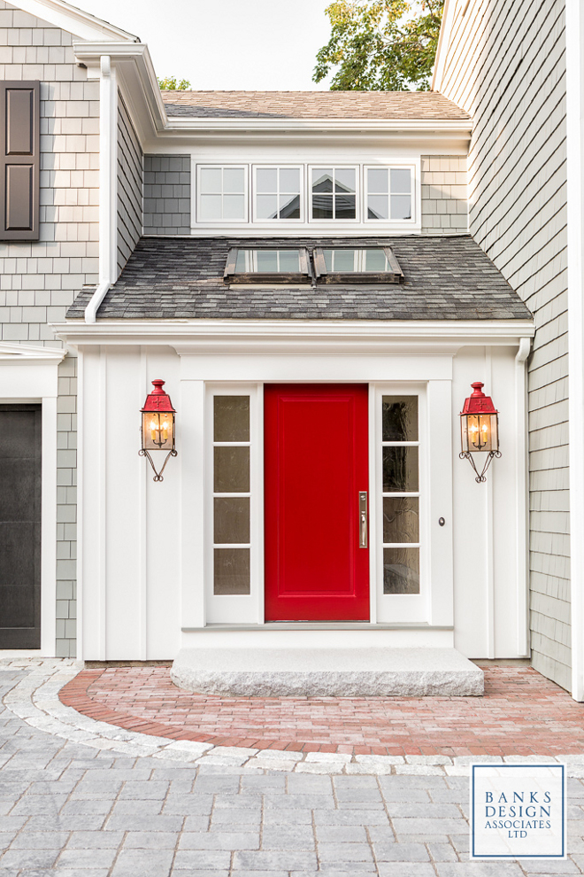 Benjamin Moore HC-181 Heritage Red. The front door is from Simpson Door Company, single raised panel painted red. The red door paint color is Benjamin Moore HC-181 Heritage Red.  #BenjaminMooreHC181HeritageRed #Reddoor #paintcolor #redpaintcolor #redfrontdoor #redfrontdoorpaintcolor #reddoorpaintcolor  Banks Design Associates, LTD & Simply Home
