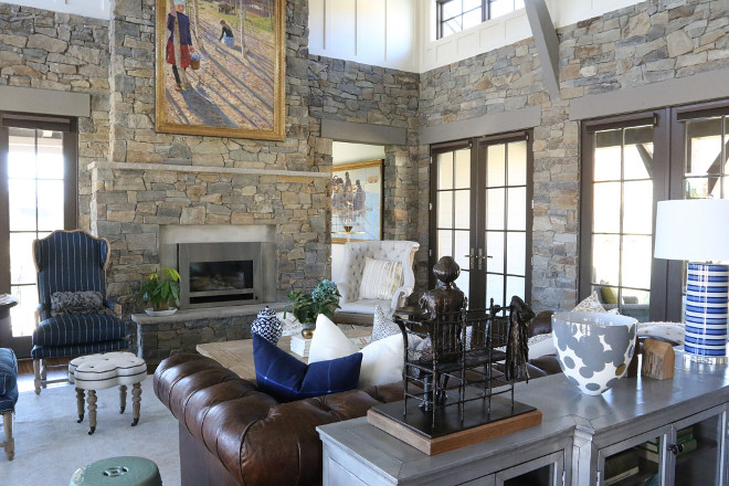 Rustic living room with stone and batten and board walls. The stone was locally quarried to match exterior stonework. #stone #livingroom #rusticlivingroom #boardandbatten rustic-living-room-design Home Bunch's Beautiful Homes of Instagram - @artfulhomestead