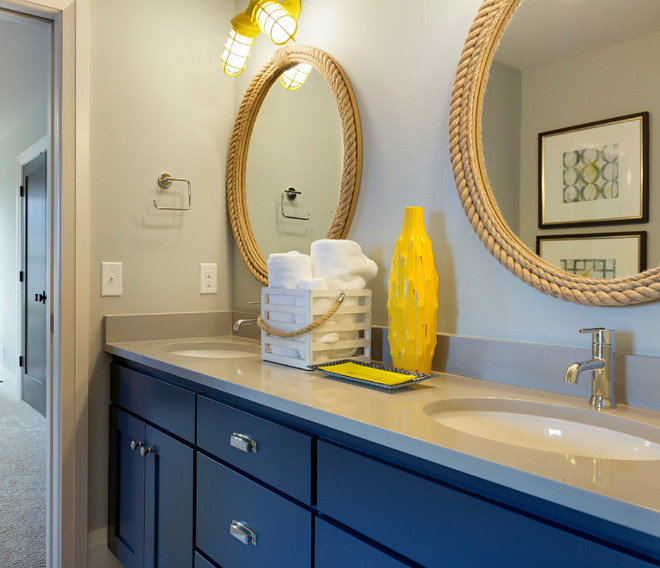 Sherwin Williams SW6244 Naval. This jack and jill bath has a fun nautical theme. The cabinet color is Sherwin Williams SW6244 Naval and the wall color is SW7649 Silverplate. #SherwinWilliamsSW6244Naval #SherwinWilliamsSW6244 #SherwinWilliamsNaval sherwin-williams-sw6244-naval