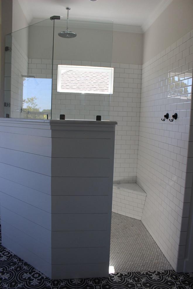Shiplap Shower Wall. Shiplap Bathroom Shower Wall. Shower wall combines shiplap paneling and white subway tile. #ShiplapShowerWall shiplap-bathroom-wall Instagram Newly Built Home Ideas Instagram @smithteam6