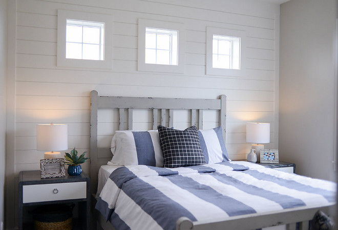 Shiplap accent wall. Bedroom shiplap accent wall. Great guest bedroom with shiplap accent wall. #shiplap #accentwall Millhaven Homes