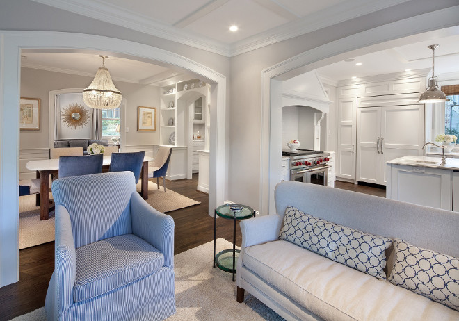 Small Home Open Floor Plan. Small Home with Open Floor Plan Divided by archways. Open kitchen connects to family room, to dining room, which opens to butlers pantry and kitchen. Small Home Open Floor Plan ideas. #SmallHomeOpenFloorPlan #SmallHome #OpenFloorPlan #smallhomes #floorplanideas Anthony Wilder
