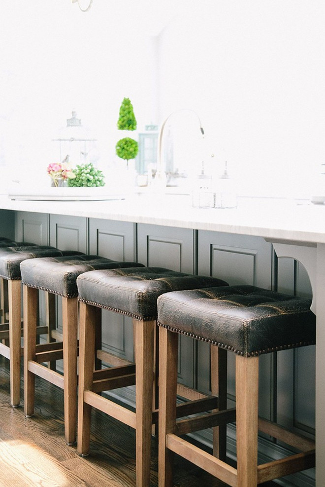 Kitchen leather barstools. Kitchen leather barstool ideas. Kitchen leather barstools. Bar stools are Four Hands Furniture. stools #leatherbarstools #barstools #leather Outrageous Interiors