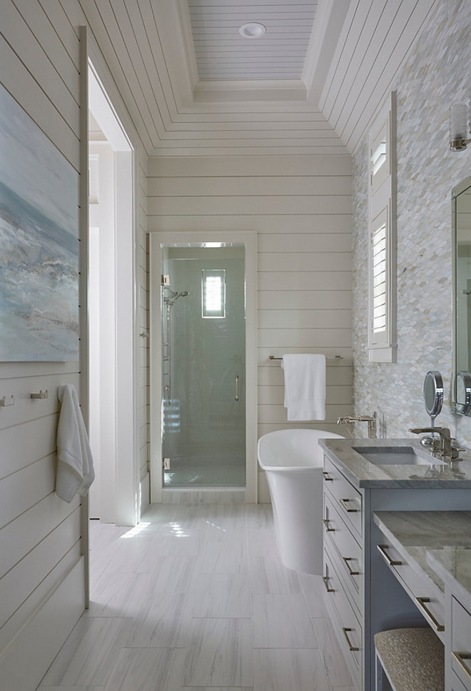 Tongue and groove bathroom. Bathroom with Tongue and groove Walls. The master bathroom also features a rectangular tray ceiling accented with shiplap trim.tongue-and-groove-bathroom #bathroom #Tongueandgroove #Tongueandgroovebathroom #shiplap