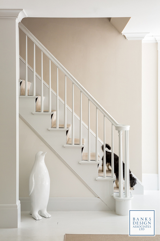 White floors paint color. Floors are existing, painted Benjamin Moore Decorator White. Wall paint color is Benjamin Moore OC-30 Gray Mist. #whitefloorpaintcolor #paintedwhitefloor Banks Design Associates, LTD & Simply Home