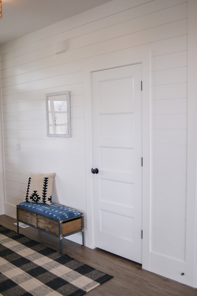 White shiplap paint color. White Shiplap paint color is Eider White SW7014 by Sherwin Williams. #WhiteShiplapPaintColor #whiteshiplap #paintcolor #EiderWhiteSW7014SherwinWilliams Millhaven Homes