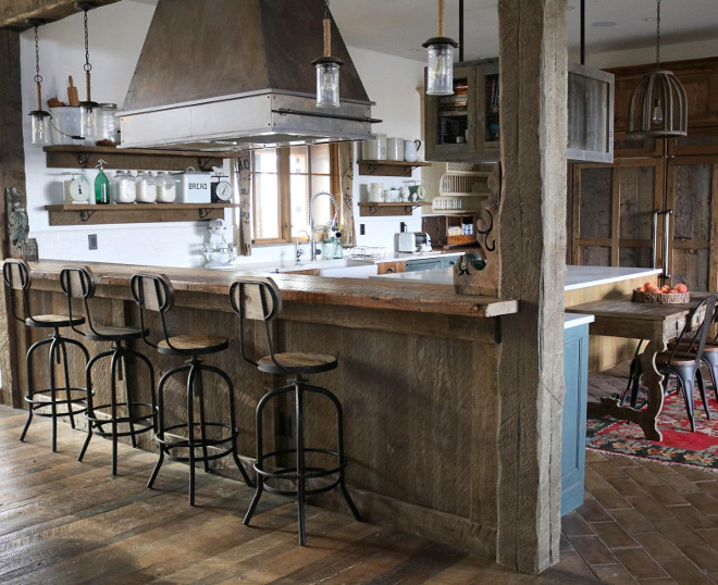 Barn Wood Kitchen. Rustic kitchen features antique barn wood planks. #BarnWood #Kitchen #Rustickitchen #antiquebarnwood #barnwoodplanks Home Bunch's Beautiful Homes of Instagram @birdie_farm