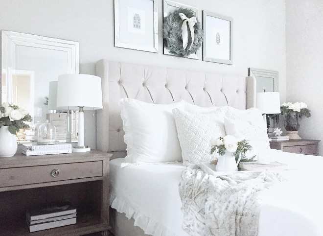 Bedroom Bedding Ideas. Neutral Bedroom Bedding Ideas. This bedroom is so inviting and comfy! Bedding is from Target and Shams are from Anthropologie. Headboard is from Wayfair. #Bedroom #Bedding #NeutralBedroom #NeutralBedding MyTexasHouse